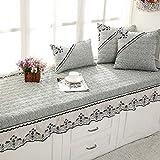 QY&LA Thick Linen Float Window mat Sofa Cushion, Garden Non-Slip Tatami Cushion Bay Window Blanket Balconies mats-Gray 70x150cm(28x59inch)