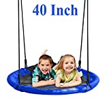 JOYMOR 40 Inch Diameter Round Oxford Detachable Swing with Adjustable Tree Rope,Great for Tree, Swing Set, Backyard, Playground, Playroom(Blue)