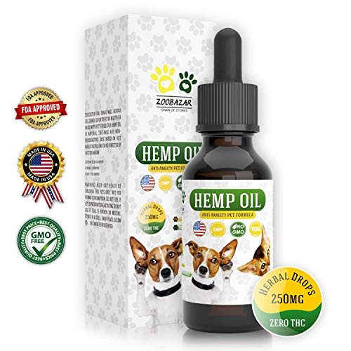 Hemp Oil for Dogs, Cats and All Pets, 250 mg, 100% Organic Treat and Food Supplement Grown, Natural Support for Hip & Joint, Provides Anxiety Relief, Better Mood and Sleep