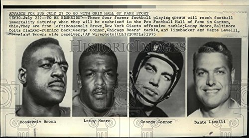 Vintage Photos 1975 Press Photo Pro Football Hall of Fame-Roosevelt Brown, Lenny Moore, Connor