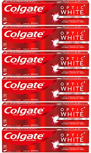 Colgate Optic White Whitening Toothpaste, Sparkling White – 5 Ounces 6 Pack