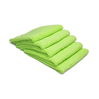 Autofiber Zeroedge Detailing Towel (Pack of 5) Edgeless Microfiber Polishing, Buffing, Window, Glass, Waterless, Rinseless, Car Wash Towels (Green): Automotive
