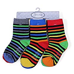 Stripe & Solid Boys Baby / Infant / Toddler 85% COTTON Fun Colorful Crew Socks, 6-pack; 6-12 months