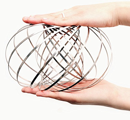 FMAIS Flow Ring Stainless Steel Springs - Multi Sensory Interactive 3D Shaped Flow Toy Magic Hand Ring for Kids Children Man Women -