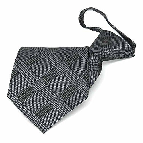 (TieMart Black Michael Glen Plaid Zipper Tie)
