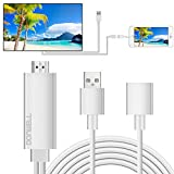 DONWELL Lightning to HDMI / HDTV Cable Digital AV Adapter for Apple iPhone / iPad / iPod to Mirroring Screen on Projector, Connecting Cell Phone to TV Play and Plus Full Clear 1080P (White)