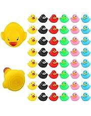 LUTER 48-delige Rubberen Badeendjes, Drijven en Piepen Mini Kleine Kleurrijke Eenden Badspeelgoed voor Douche / Verjaardag / Feestartikelen