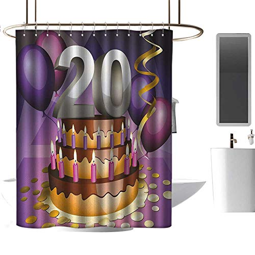 TimBeve Shower Curtain for Bathroom 20th Birthday,Cartoon Print of a Birthday Cake Golden Colored Frosting and Candles,Purple and Lilac,Metal Rust Proof Grommets Bathroom Curtain 72