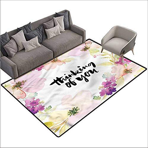 - Slip-Resistant Washable Entrance Doormat Romantic,Soft Floral Blossom Design 80