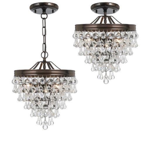 Crystorama 130-VZ Calypso – Three Light Pendant, Choose Finish: Vibrant Bronze