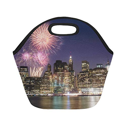 Insulated Neoprene Lunch Bag Firework Over Manhattan Island In New York Large Size Reusable Thermal Thick Lunch Tote Bags For Lunch Boxes For Outdoors,work, Office, -