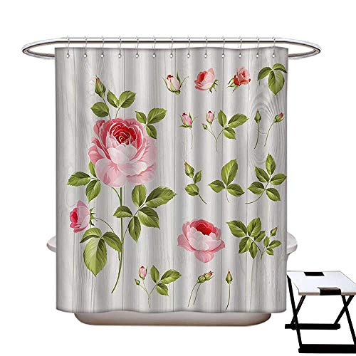 Floral Anti Bacterial Shower Curtain Liner Vintage Rose Petals Over Wooden Board Background Wedding Romance Artsy Design No Chemical Odor,Rust Proof Grommets Holes Baby Pink Khaki48×72