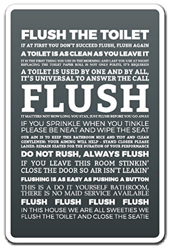 elty Sign | Indoor/Outdoor | Funny Home Décor for Garages, Living Rooms, Bedroom, Offices | SignMission Clean Toilet Restroom Warning Bathroom Funny Gift Sign Decoration (State Street Flush)