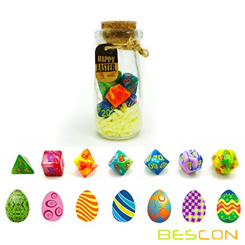 Bescon Easter Dice Polyhedral Dice 7pcs RPG Set in Glass Jar, RPG Dice Set d4 d6 d8 d10 d12 d20 d% Set of 7 Easter Dice-DND Dice ()