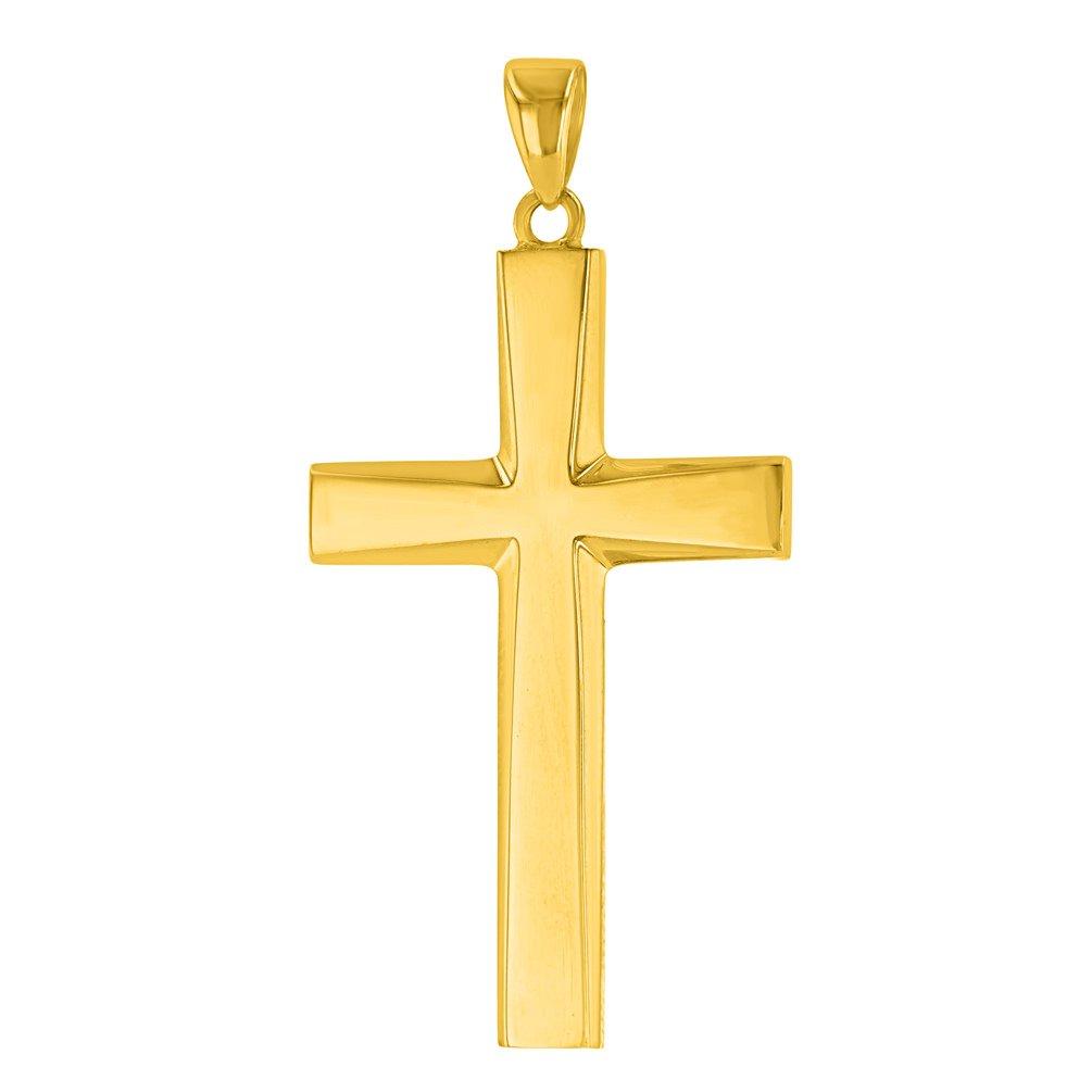 14K Yellow Gold Plain & Simple Religious Cross Pendant