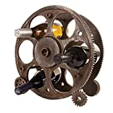 Foster & Rye 2755 Gears and Wheels Industrial Home Decor, Freestanding Wine Rack Countertop Bottle Holder, Set of 1, Rust