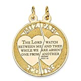 14k Yellow Gold Break Apart Mizpah Coin Emotional Bond Words Charm 22x17mm