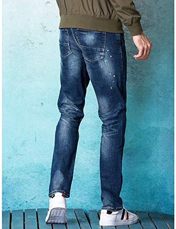 Fanuosu męskie dżinsy Slim Straight Jesień i zima grube Splash Jeans, 30: Küche & Haushalt