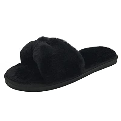 Alonea Womens Indoor Home Shoes Faux Fur Warm Slippers