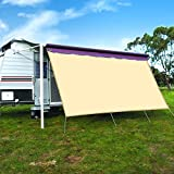 CAMWINGS RV Awning Privacy Screen Shade Panel Kit Sunblock Shade Drop 8 x 16ft, Wheat