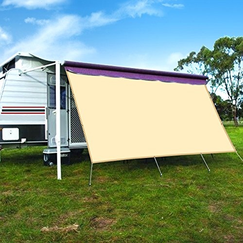 CAMWINGS RV Awning Privacy Screen Shade Panel Kit Sunblock Shade Drop 8 x 12ft, Wheat by CAMWINGS