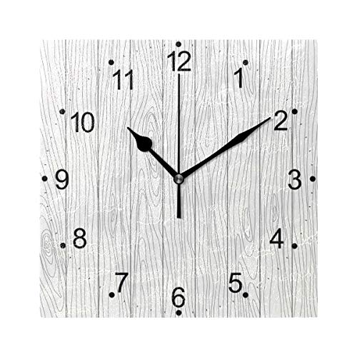 LORVIES Wood Texture Wall Clock Silent Non Ticking Acrylic 8 Inch Square Decorative Clock for Home/Office/Kitchen/Bedroom/Living Room