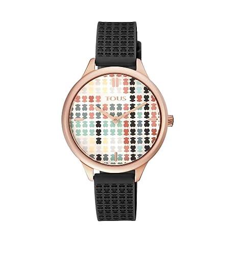 Reloj Tous 900350135 Tartan Acero IP Rosado con Correa de Silicona Negra: Amazon.es: Relojes