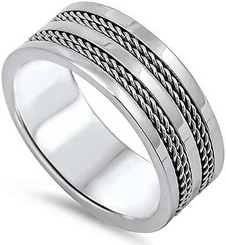 Stainless Steel Twin Rope Braid Striped Band Ring