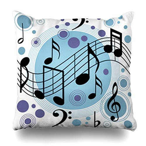 GisRuRu Throw Pillow Covers Band Jazz Music Ragtime Piece Swing Rhythm Score Art Home Decor Sofa Pillowcase Square Size 20 x 20 Inches Cushion Cases