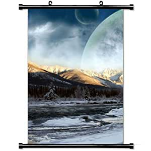 Fashion Home Decor with Wood Winter Sky Planets Fantasy Snow Shade Art Design Wall Scroll Poster Fabric Painting 23.6 X 35.4 Inch (60cm X 90 cm)