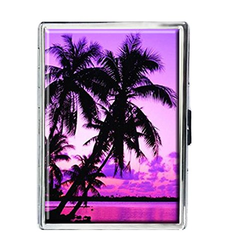 - Purple Palm Tree Design Stainless Steel ID Cigarettes Case Holder Stylish Credit Card Wallet
