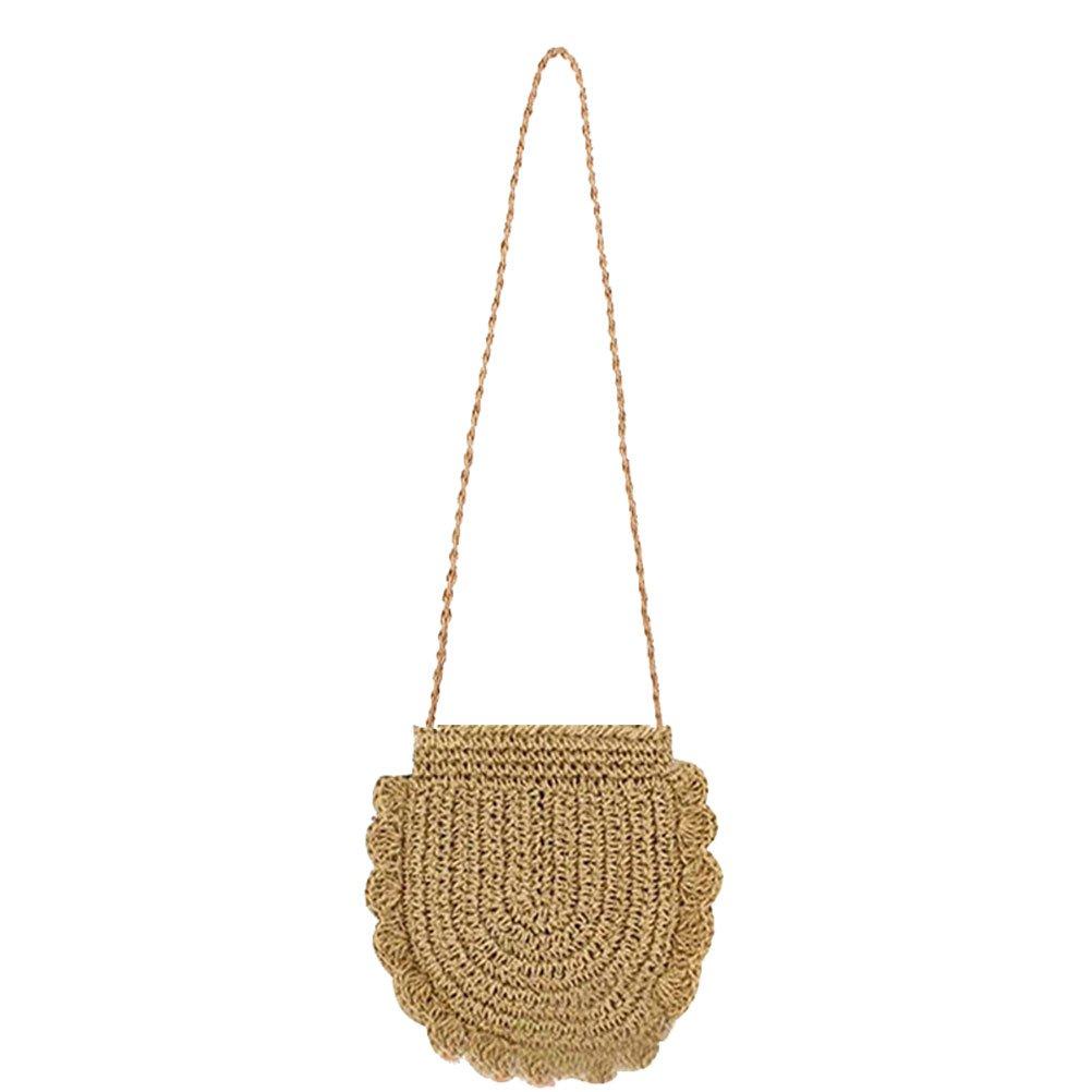 Donalworld Women Beach Bag Round Straw Shoulder Summer Bag S Col1