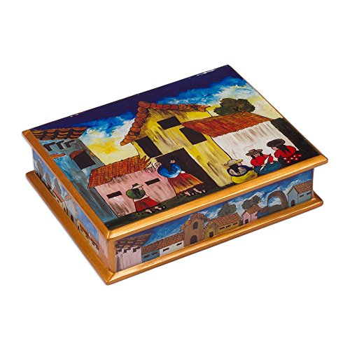 verse Painted Glass Jewelry Box, Multicolor, 'Village Houses' (Painted Village)