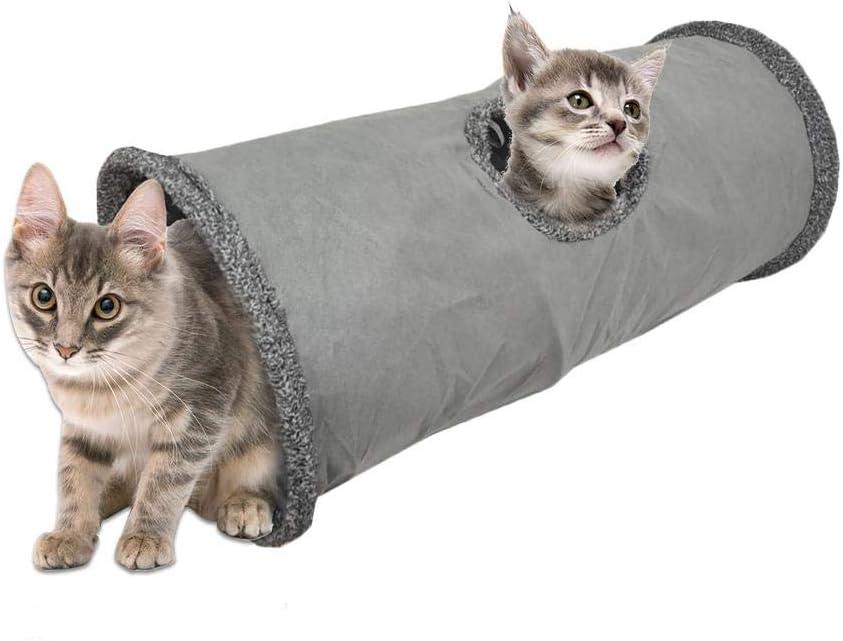 Szseven Túnel para Gatos, Conejos para Gatos Juguetes para Mascotas Plegables, Túnel Y Cama para Jugar, Agujero Plegable con Bola Suspendida, Juguete para El Hogar para Gatos