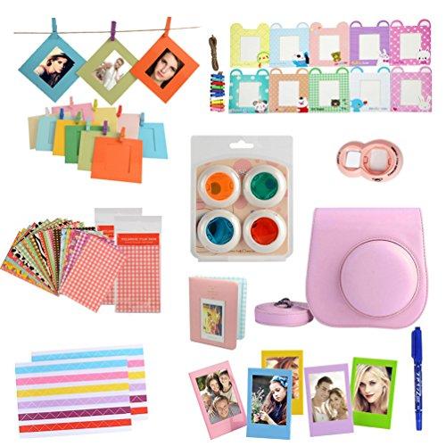 fan-le-mini-8-bundles-set-for-fujifilm-instax-mini-8-instant-cameras-pink-case-album-selfie-lens-col