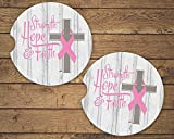 Strength Hope and Faith Sandstone Car Coasters Breast Cancer Pink Ribbon and Cross, Set of 2