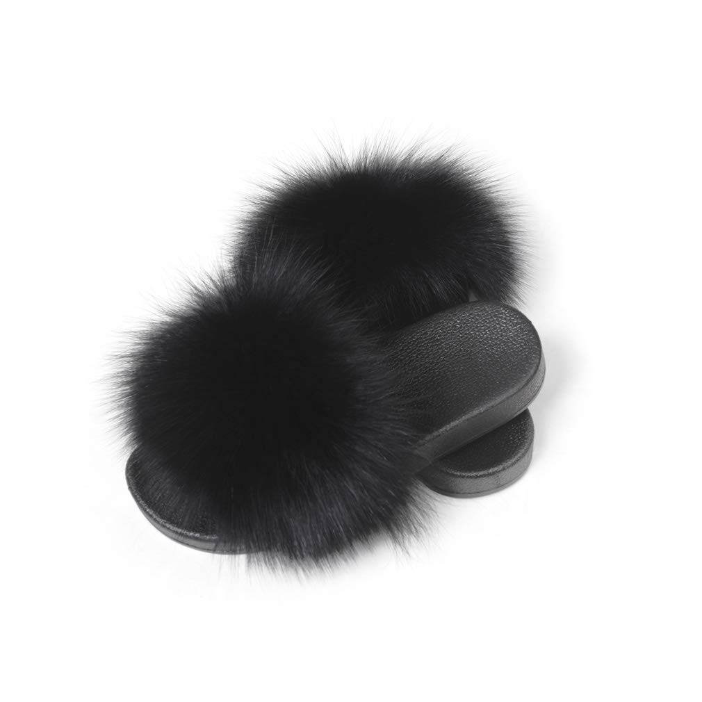 Black Women's Fur Slipper Outdoor Soft Flat Slide Sandels Real Fox Fur Fur Story 18S01