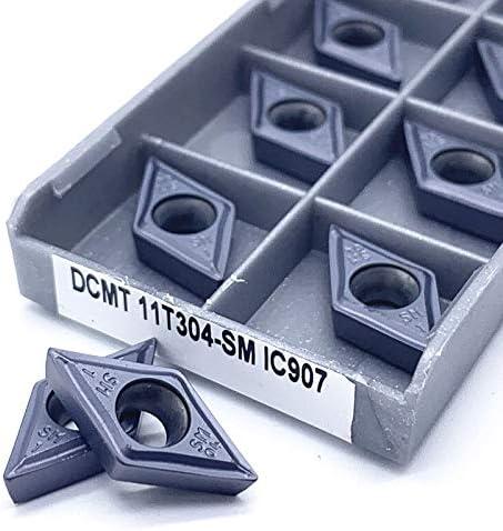 WITHOUT BRAND 10pcs DCMT11T304 SM C907 DCMT11T304 IC908 Interne Drehwerkzeuge Schneidplatten Drehschneider Schneid CNC Werkzeuge (Farbe : DCMT11T304 SM IC907)