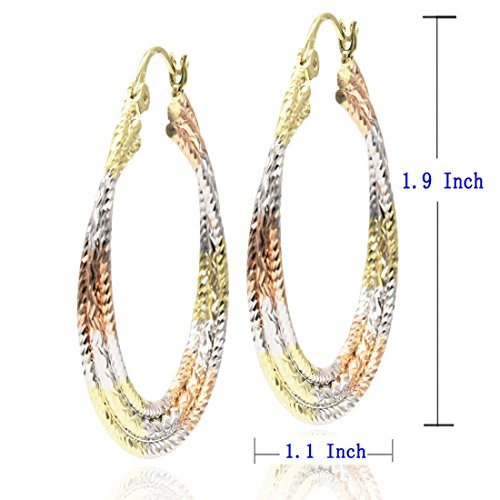 Juvel Jewelry Fine Gold Plated 3 Rings Multi Color Special Earrings Hoop for Birthday Gift by Juvel Jewelry (Image #3)