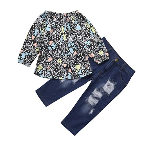 Goodtrade8 Toddler Baby Girl Ruffle Flower Tops+ Denim Pants Two Piece Set Summer Clothes (18-24 Months, Multicolor)