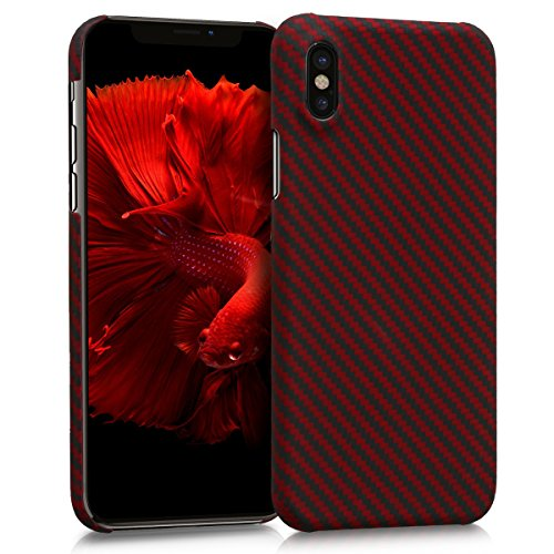 kalibri Case for Apple iPhone X - Strong Solid Aramid Fiber Body Armor Protective Hard Back Cover - Red/Black