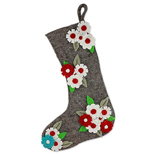 - NOVICA HD0064 Festive Daisies' Wool Christmas Stocking