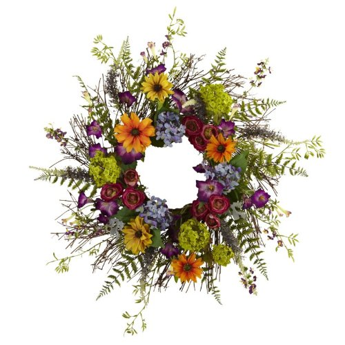 Wholesale 24 Inch Spring Garden Wreath w/Twig Base, [Decor, Wreaths] - Wholesale Twig Wreaths