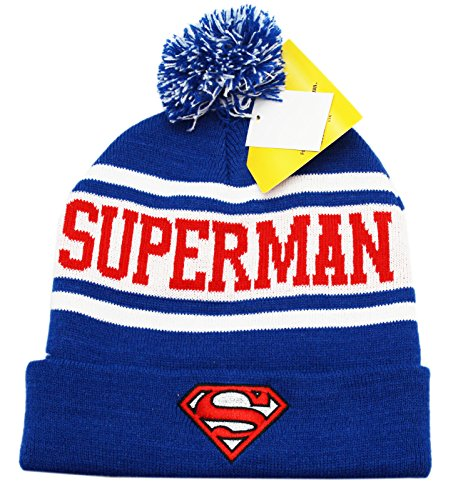 Superman - Shield Stripe Pom Pom Knit Hat]()