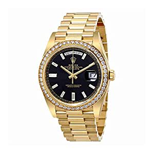 rolex oyster perpetual day date black dial automatic mens 18 carat yellow gold. Black Bedroom Furniture Sets. Home Design Ideas