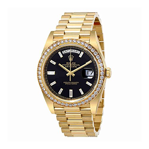Rolex Oyster Perpetual Day-Date Black Dial Automatic Mens 18 Carat Yellow Gold President Watch (President Watch)