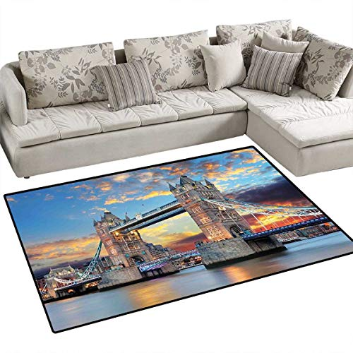 (London Girls Rooms Kids Rooms Nursery Decor Mats Vista of Tower Bridge at Dramatic Sunset Thames River with Grey Clouds Bath Mats for Floors 3'x5' Pale Blue Yellow Tan)