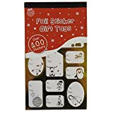 100 Foil Sticker Christmas Gift Tags Labels Gold and Silver