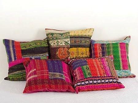 Indian Silk Sari Kantha Thread Embroidery Work Block Printed Kantha Cushion Cover, 41 X 41 Cm, lot of 5 pcs