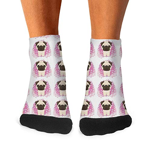 Mens Breathable Socks Pug Clipart Background Casual Crew Socks